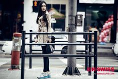 sports fashion style / street fashion @seoul   /mixmatch with trench coat & running shoes /product :KSWISS blade max