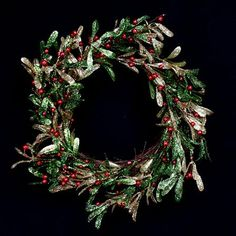 Red/Green/Gold Glitter Misteltoe Wreath - Promotion ends at 6.30am Saturday 10th November