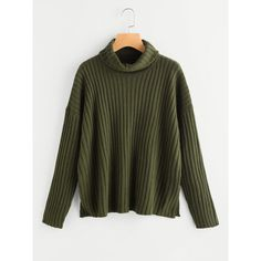 Roll Neck Drop Shoulder Rib Knit Jumper (6.655 HUF) ❤ liked on Polyvore featuring tops, sweaters, green, drop shoulder sweater, jumper top, drop shoulder tops, roll neck top and ribbed knit top