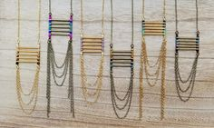Bright Colorful Ladder Necklace in Brass Hot Pink