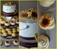 Sunflowers and Bumblebees - Gumpaste sunflowers painted with gold luster dust.  Sugar bees with vanilla almond buttercream.  Satin ribbon on cake topper.  Cake inspired by Sugarshack, cuppies by many Ive seen on here.  TFL!