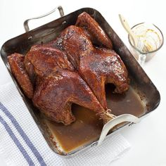 For the glaze on our butterflied turkey we thinned molasses with apple cider and cider vinegar and thickened with cranberries. We found that waiting to apply glaze (3 coats) until turkey is fully cooked allows skin to crisp up first. Cranking heat to 450 thickens and concentrates glaze.