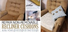 We'll show you how to repair a recliner cushion. the non-removable kind! This one had some doggie damage but you can also recover just for a new look! Mason Jar Crafts, Mason Jar Diy, Diy Bench Seat, Countertop Makeover, Glass Bottle Crafts, Craft Stick Crafts, Craft Sticks, Fairy Doors, Painted Mason Jars