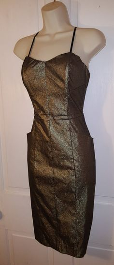 VESTIDO de ORO METÁLICO / / 90 caché 80 bronce moderno vestido sin tirantes de cinta correas tamaño 8 año nuevo Bodycon elástica bolsillos Formal de la boda