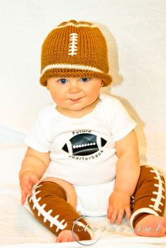 Baby Boy Football Outfit hat onesie legwarmers by Fabric2Fashion, $32.00