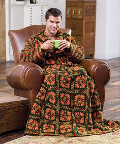 Nothing says 'real man' like a granny square dressing gown and a cup of coa coa.