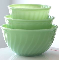 Vintage Fire King Jadeite mixing bowls