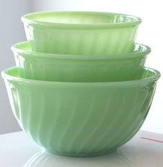Vintage Fire King Jadeite mixing bowls