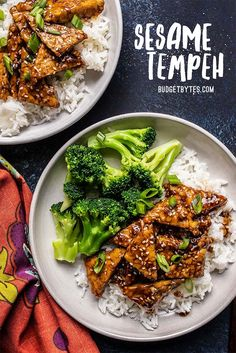 These Sesame Tempeh Bowls are a great vegan alternative to sesame chicken and only take about 20 minutes to make. An easy fast vegan meal prep! Vegan Meal Prep, Easy Meal Prep, Easy Vegan Meals, Vegetarian Recipes, Cooking Recipes, Healthy Recipes, Tempeh Recipes Vegan, Fruit Recipes, Pasta Recipes