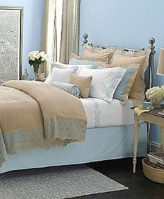 Beige & blue bedroom to match our bathroom.