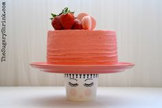 Strawberries. Cake. Buttercream. Macarons. Fiesta Ware. Flamingo.