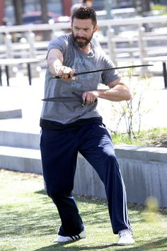 Hugh Jackman is spotted training with swords for his role as Blackbeard for the new 'Pan' movie. Celebrity Fitness, Celebrity Workout, Pan Movie, Radar Online, Hugh Jackman, Celebs, Celebrities, Swords, Stay Fit