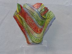 Frit painted striped fused glass vase by M.Carter