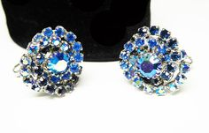 New Listings Daily - Follow Us for UpDates -  Description & Style:  Blue Aurora Borealis #Rhinestone Cuff Links - Round #Vintage 1950's 1960's Cufflinks for Men or Women #Accessories Royal and Dark Blue Rhinestones - Offe... #vintage #jewelry #teamlove #etsyretwt #ecochic #rhinestones #thejewelseeker #accessories