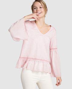 Camiseta de mujer Southern Cotton en rosa con detalle de encaje