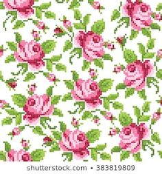 seamless floral background with roses, embroidery Cross Stitch Borders, Cross Stitch Rose, Cross Stitch Flowers, Cross Stitch Designs, Cross Stitching, Cross Stitch Patterns, Rose Embroidery, Cross Stitch Embroidery, Embroidery Patterns