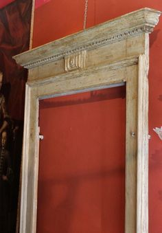 Italian Century Palatial Hand Carved and Lacquered Doorway Frame Pine Doors, Wood Doors, Carved Eggs, Hand Carved, Entrance Doors, Doorway, Italian Doors, Mantle Mirror, Building Front