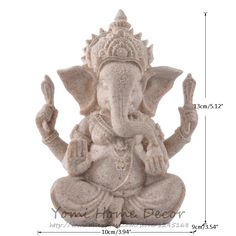 """5.12"""" Sand Yellow Resin Stone Indian Elephant God Ganesha Statue for Home Office Decoration Business Gift Craft Indian Deity"""
