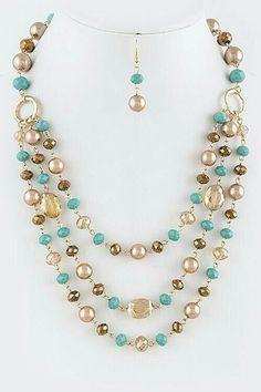 Beaded Jewelry Lindo collar sencillo y colorido Bead Jewellery, Pearl Jewelry, Wire Jewelry, Jewelry Sets, Beaded Jewelry, Jewelery, Jewelry Making, Beaded Necklaces, Handmade Necklaces