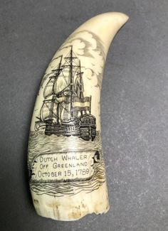 Buy online, view images and see past prices for Scrimshaw Old Authentic Whale Tooth Ivory Carving. Invaluable is the world's largest marketplace for art, antiques, and collectibles. Flintlock Rifle, Old Sailing Ships, Powder Horn, Majestic Animals, Bone Carving, Treasure Island, Nature Crafts, Whales, Watercolours