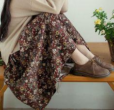 rustic floral flowers print Vintage corduroy skirt saia mori girl autumn winter