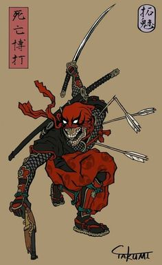 But Samurai don't use firearms. in the taisho period samurai use firearms… Comic Book Characters, Comic Books Art, Comic Art, Marvel Dc Comics, Marvel Avengers, Marvel Universe, Deadpool Art, Japon Illustration, Samurai Art