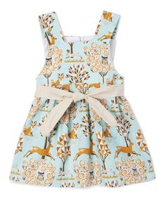 Look at this Caught Ya Lookin' Light Blue & Beige Deer Swing Dress - Infant & Toddler on #zulily today!