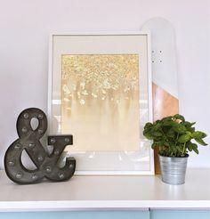 Instant Download Beige Gold Leaf Print - Gold Foil Painting - Art Print - Gold Printable Art - Digital Prints - Abstract Art Print
