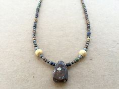 Agate pendant necklace on tribal chic bead by NanabojoDesigns