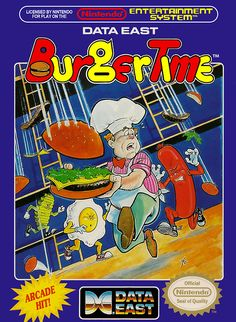 NES Box Art: BurgerTime As Chef Peter Pepper, you must fend off...
