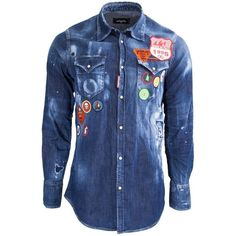 Dsquared2 Denim Shirt With Patches ($770) ❤ liked on Polyvore featuring men's fashion, men's clothing, men's shirts, men's casual shirts, blue, mens elbow patch shirt, mens embroidered shirts, mens ripped shirts, mens destroyed t shirt and mens pearl snap shirts