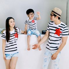 Kiqoo New Summer Short Sleeve Cotton Stripe Pentagram Parent-child Casual Outfit Family Clothing T-shirt Family Tops Mother Daughter Matching Outfits, Matching Family Outfits, Matching Clothes, Casual Work Outfits, Work Casual, Mother Father And Baby, Couple With Baby, T Shirt Printer, Couple Tees