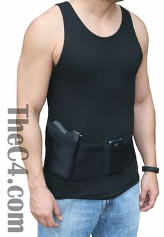 Multi- pocket, holstered tank top will hold your firearm with it's compression style holster, along with other essentials including phone, extra magazines, credit cards and personal ID.