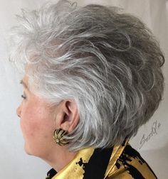 Older Women's Short Gray Layered Hairstyle