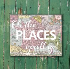 Oh, the places you'll go Dr. Seuss vintage map print for nursery or kid's room baby shower new mom gift by CheekyAlbi, $15.00