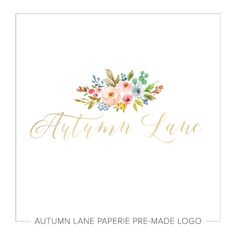 This listing is for a customizable pre-made Pale Gold Floral Logo I38. Put your company's name on it today!