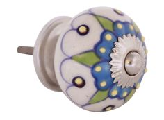 Bulk Wholesale Handmade Round Knobs / Pulls (Set of 2) in Ceramic & Metal for Drawers / Dressers / Cabinets – Decorated with Multicolor Traditional Patterns on a White Base – Ethnic-Look Home Décor