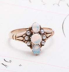 Late Victorian Rose Gold Opal and Seed Pearl Ring  Beautiful!