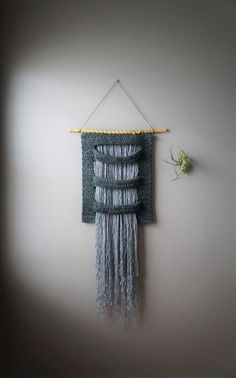 Woven Wall Hanging, Wool Tapestry, Bohemian Wall Hanging, Fringe Tapestry, Textile Art, Grey Weaving, Silver Gray Weave, Masculine Weaving by LemonCucullu on Etsy