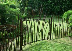 Cancello artistico in ferro, bamboo