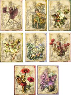 Vintage inspired fairy flower tag blank small card scrapbook altered art set 8   #handmade #AnyOccasion