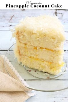 This Pineapple Coconut Cake is SO moist and delicious, with pineapple cake layers, pineapple filling, and coconut cream cheese frosting! Cupcakes, Cupcake Cakes, Coconut Pineapple Cake, Coconut Cakes, Pineapple Layer Cake Recipe, Pinapple Cake, Lemon Cakes, Cake With Cream Cheese, Cream Cake