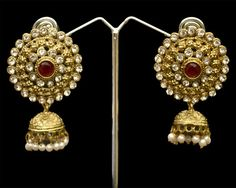 Stunning Indian American Designer Fashion Maroon Style Victorian Earrings Set