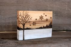 Winter Tree with Snowflakes - Art Block - Wood burning