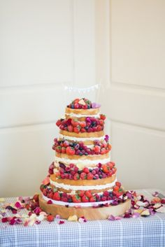 Naked wedding cakes #fruit #rustic #flowers #country #pretty