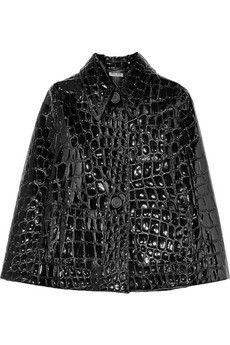 Miu Miu Croc-effect faux patent-leather cape | NET-A-PORTER
