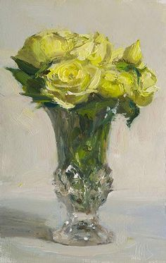 14cm x 22cm, oil on board Painting status: SOLD Daily painting for Friday 28 November, 2014 daily painting titled White roses in a vase - click for enlargement
