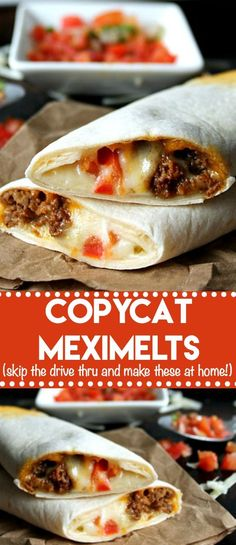 Copycat Meximelts are a drive thru favorite you can make at home! Melty cheese, … Copycat Meximelts are a drive thru favorite you can make at home! Melty cheese, flavorful beef and pico make these a family favorite! Tostadas, Enchiladas, Mexican Dishes, Mexican Food Recipes, Ground Beef Recipes Mexican, Mexican Cheese, Ethnic Recipes, Lunch Recipes, Cooking Recipes