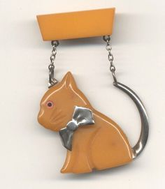 Vintage Bakelite & Metal, Two Piece Kitten Brooch, with Metal Bow & Tail, 2 Chains