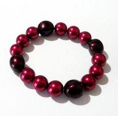 Pearl Bracelet Red Pearl Beaded Bracelet Red by BijiJewelry